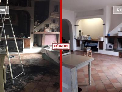 Pulizia dopo un incendio in casa